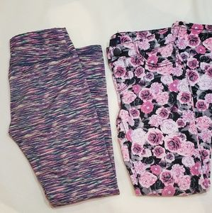 A bundle of two girls pink  leggings, size 8